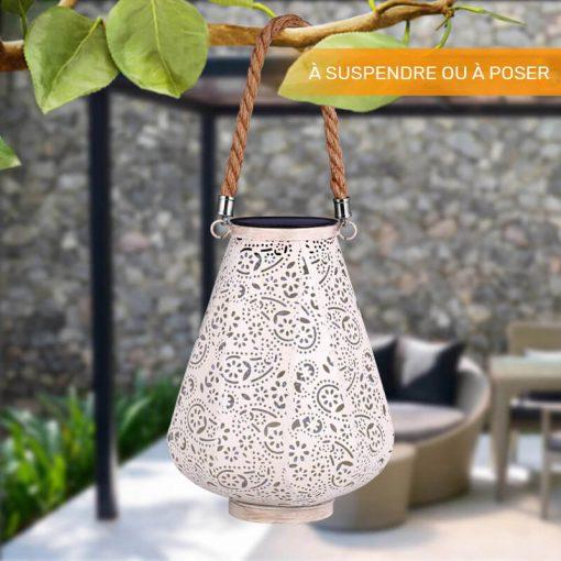 lanterne solaire blanche jardin