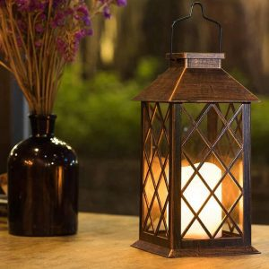lanterne solaire bronze jardin