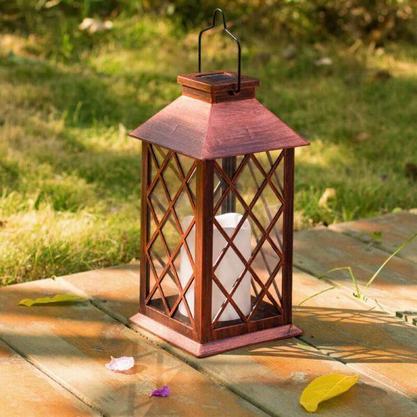 lanterne solaire bronze vintage