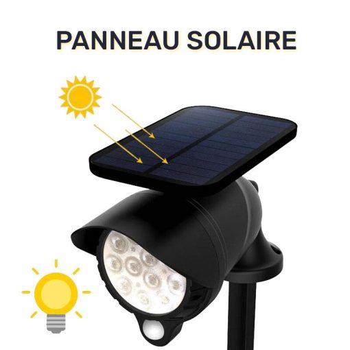 spot led détecteur de mouvement solaire jardin