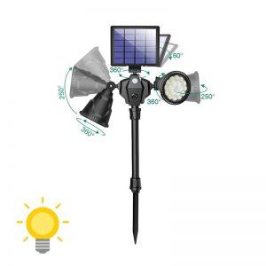 spot solaire led avec détecteur mouvement double