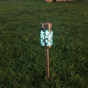 borne solaire multicolore jardin inox