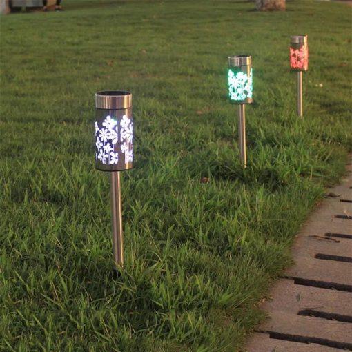 borne solaire multicolore jardin led