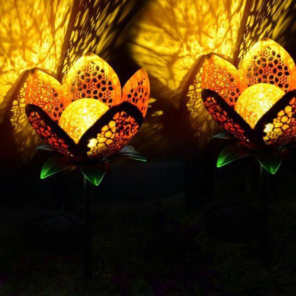 Lampe solaire forme fleur led