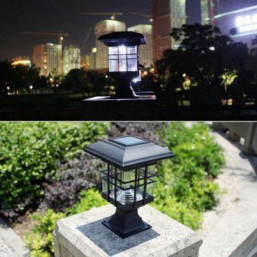 lampe solaire pour poteau de terrasse etanche