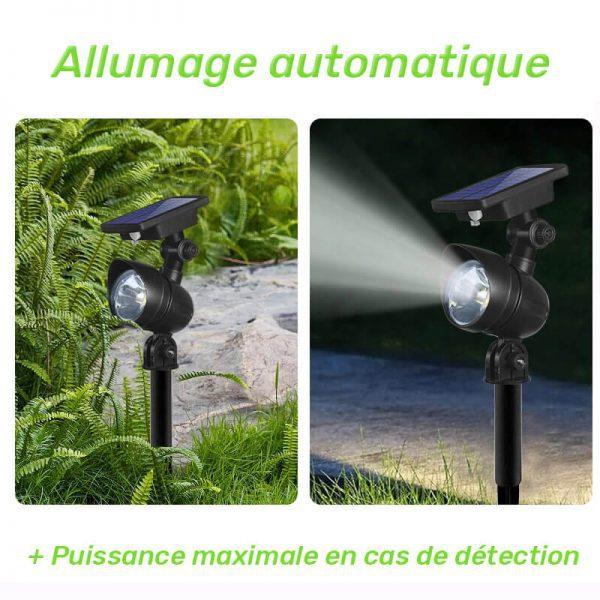 spot éclairage solaire extérieur avec detecteur de mouvement jardin
