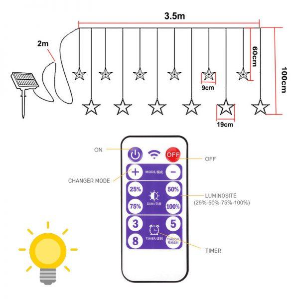 guirlande etoile solaire telecommande