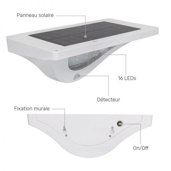 lampe exterieure solaire avec detecteur mouvement jardin
