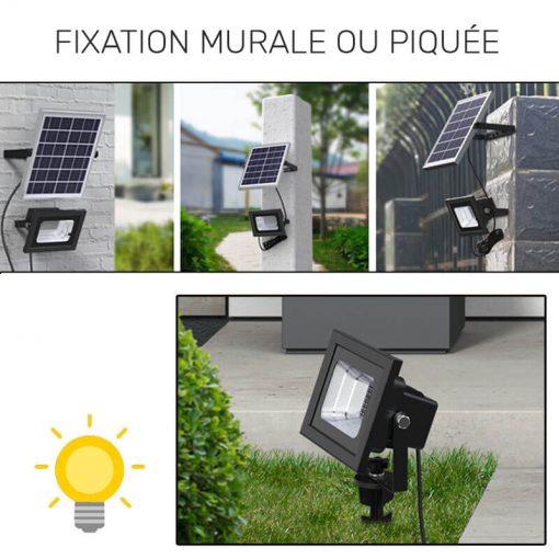 projecteur solaire couleur LED