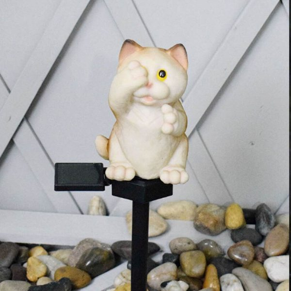 lampe solaire chat jardin