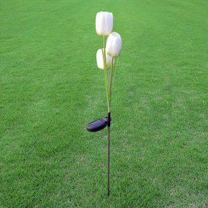 lampe solaire tulipe blanche