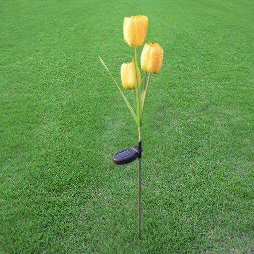 lampe solaire tulipe jaune