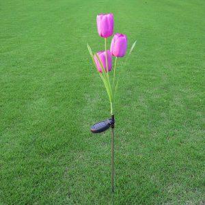 lampe solaire tulipe rose