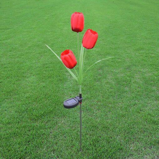 lampe solaire tulipe rouge