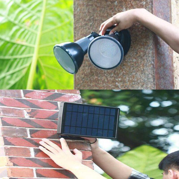 double projecteur led solaire exterieur