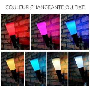 eclairage exterieur solaire couleur led