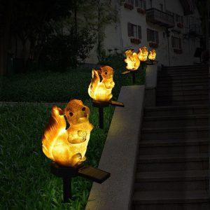 ecureuil lumineux solaire lampe