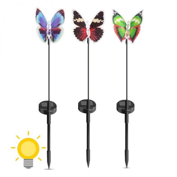 papillon lumineux solaire jardin