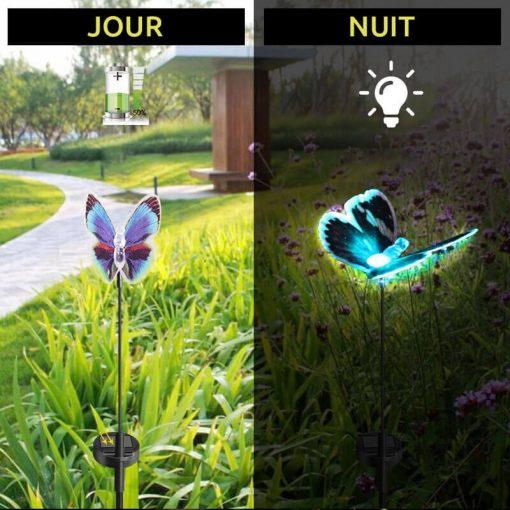 papillon lumineux solaire jardin exterieur