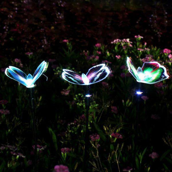 papillon lumineux solaire jardin led