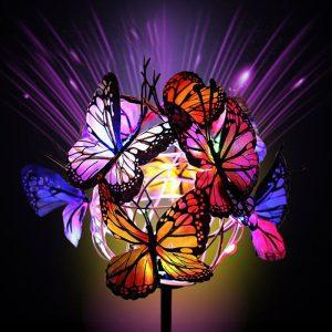 papillon solaire jardin led