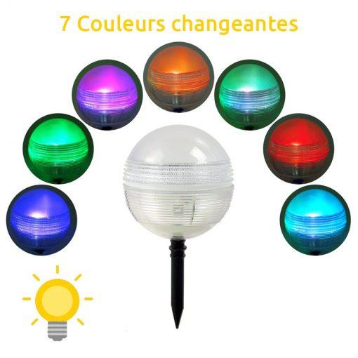 boule solaire piscine couleur