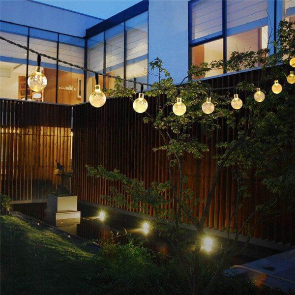 guirlande boule solaire jardin blanc chaud