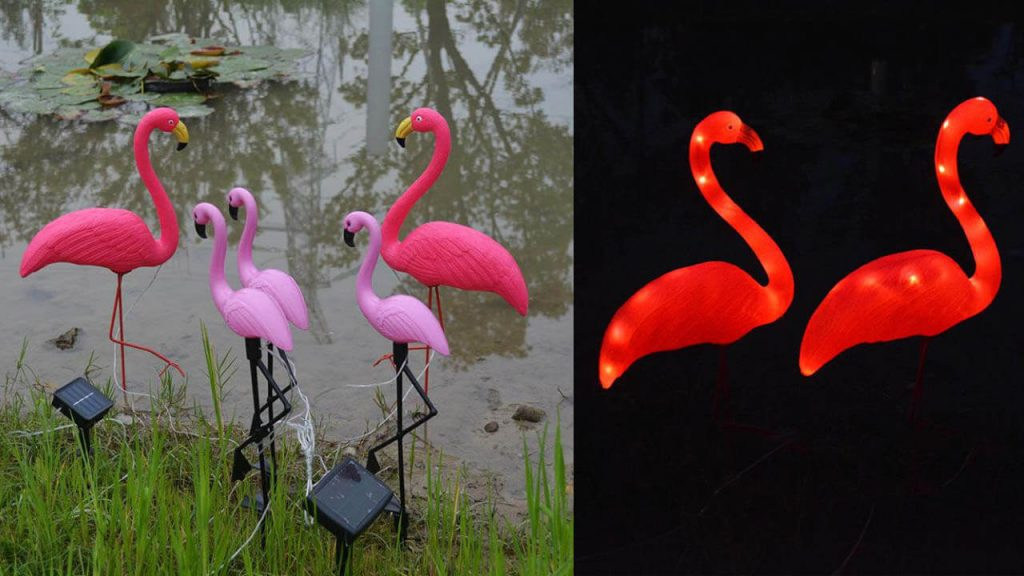 lampe solaire animal flamant rose
