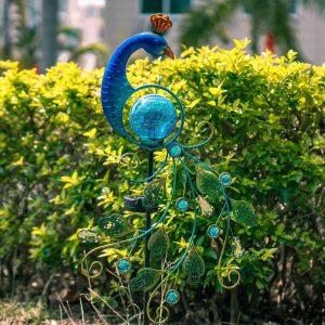 paon solaire metal lumineux jardin